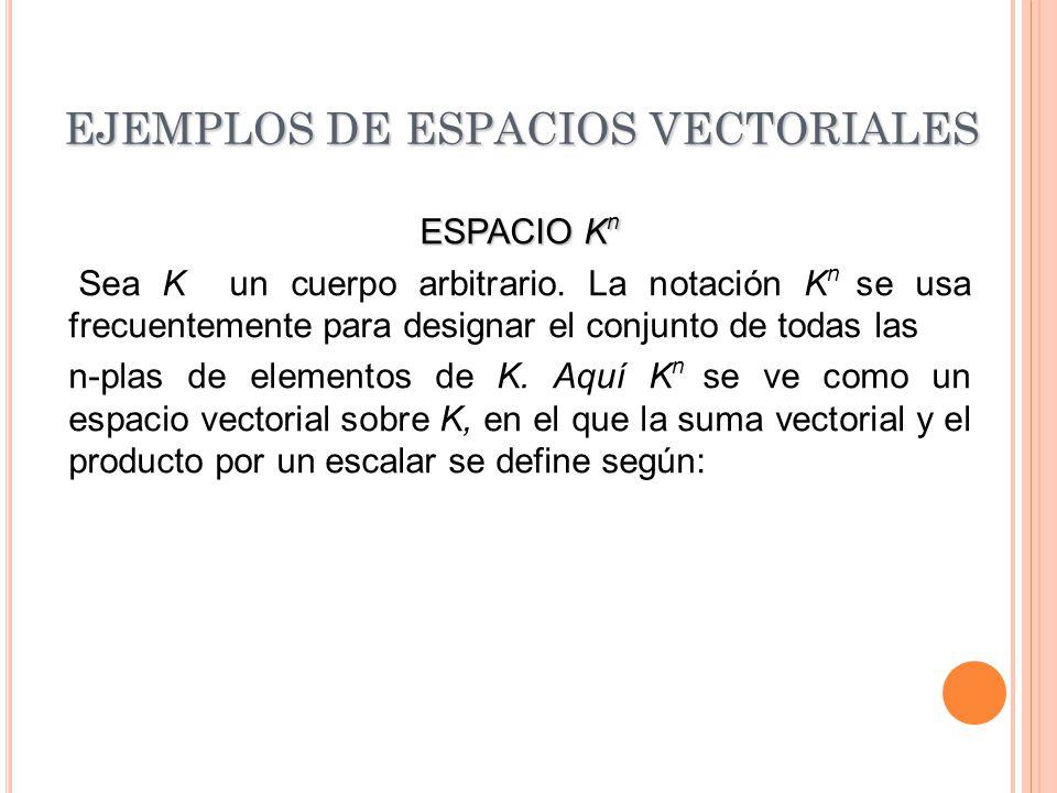 EJEMPLOS DE ESPACIOS VECTORIALES ESPACIO K n Sea K un cuerpo arbitrario. La notación K n se usa frecuentemente para designar el conjunto de todas las