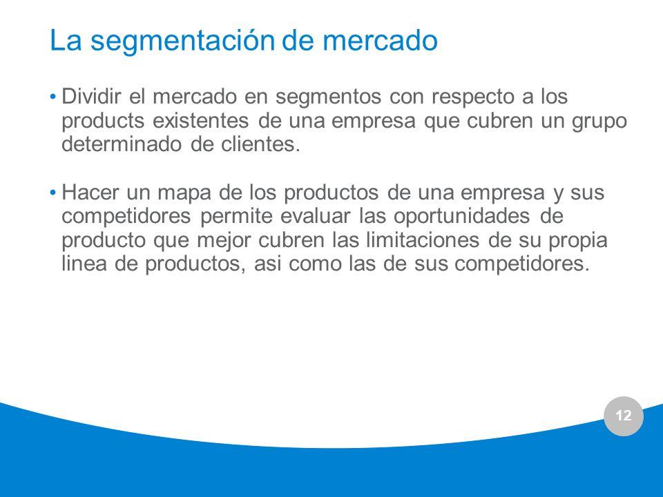 12 La segmentación de mercado Dividir el mercado en segmentos con respecto a los products existentes de una empresa que cubren un grupo determinado de
