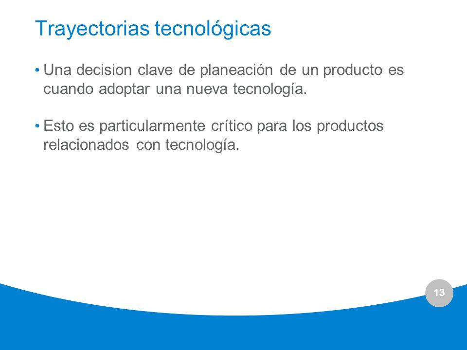 13 Trayectorias tecnológicas Una decision clave de planeación de un producto es cuando adoptar una nueva tecnología. Esto es particularmente crítico p