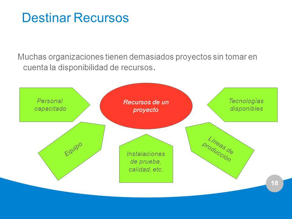 18 Destinar Recursos Muchas organizaciones tienen demasiados proyectos sin tomar en cuenta la disponibilidad de recursos. Recursos de un proyecto Pers