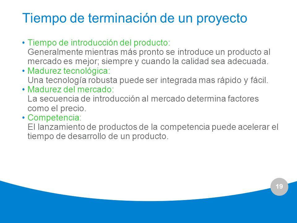 19 Tiempo de terminación de un proyecto Tiempo de introducción del producto: Generalmente mientras más pronto se introduce un producto al mercado es m
