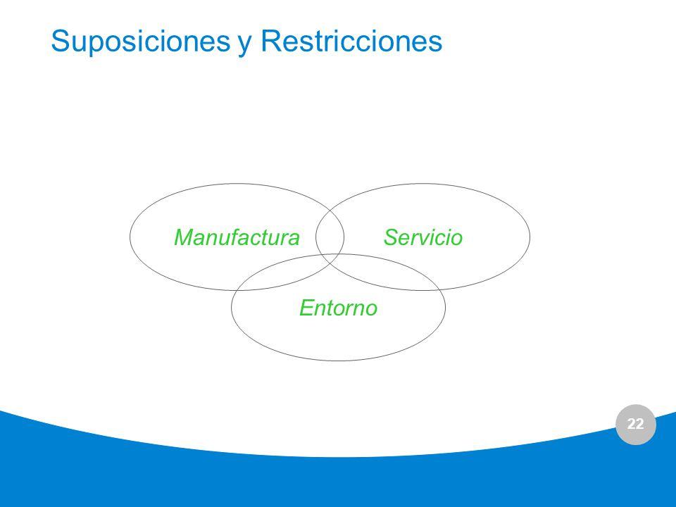 22 Suposiciones y Restricciones ManufacturaServicio Entorno
