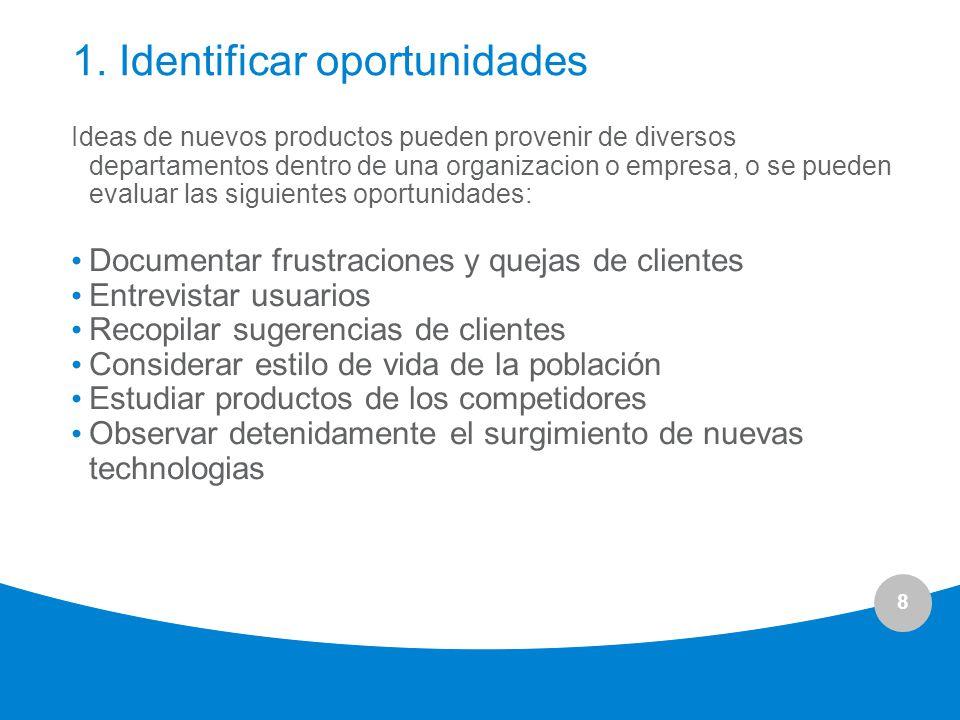 9 Nuevas Ideas pueden venir de: ClientesProveedoresSocios Clientes potenciales Equipo de diseño Personal de Tecnología Personal de Manufactura Personal de Operaciones Personal de Mercadotécnia