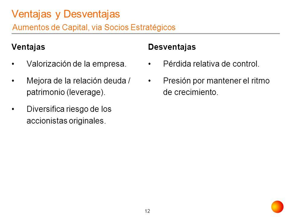 12 Ventajas y Desventajas Ventajas Valorización de la empresa. Mejora de la relación deuda / patrimonio (leverage). Diversifica riesgo de los accionis