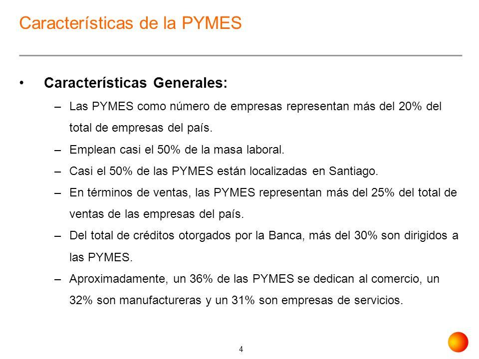 4 Características de la PYMES Características Generales: –Las PYMES como número de empresas representan más del 20% del total de empresas del país. –E