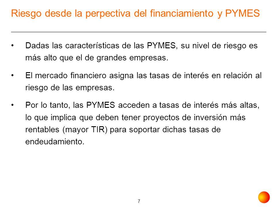 7 Riesgo desde la perpectiva del financiamiento y PYMES Dadas las características de las PYMES, su nivel de riesgo es más alto que el de grandes empre