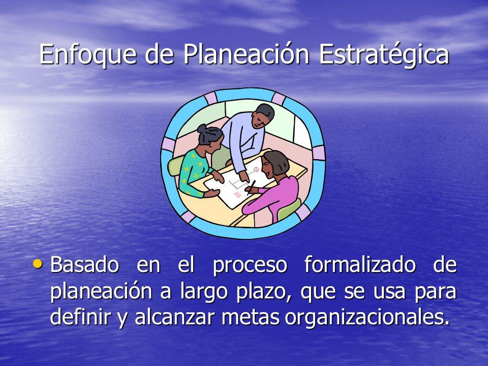 Enfoque de Planeación Estratégica Basado en el proceso formalizado de planeación a largo plazo, que se usa para definir y alcanzar metas organizaciona