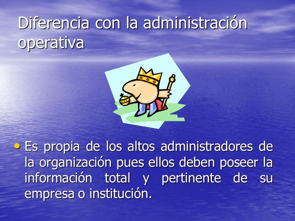 Diferencia con la administración operativa Es propia de los altos administradores de la organización pues ellos deben poseer la información total y pe