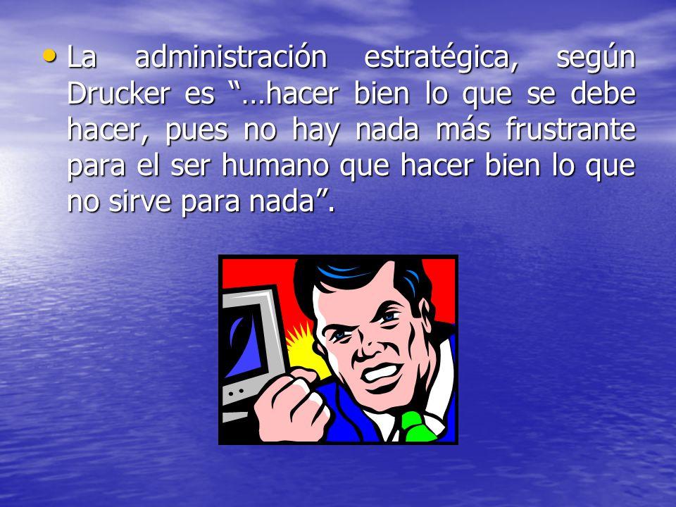 La administración estratégica, según Drucker es …hacer bien lo que se debe hacer, pues no hay nada más frustrante para el ser humano que hacer bien lo