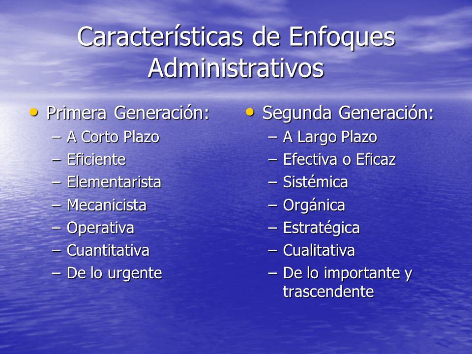 Características de Enfoques Administrativos Primera Generación: Primera Generación: –A Corto Plazo –Eficiente –Elementarista –Mecanicista –Operativa –