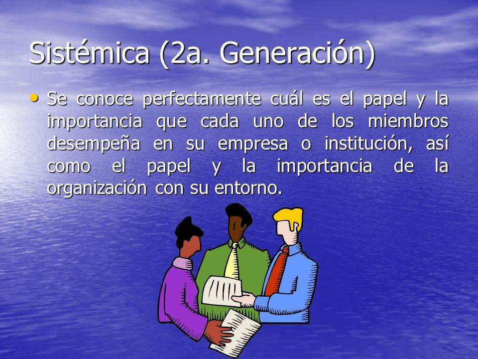 Sistémica (2a. Generación) Se conoce perfectamente cuál es el papel y la importancia que cada uno de los miembros desempeña en su empresa o institució