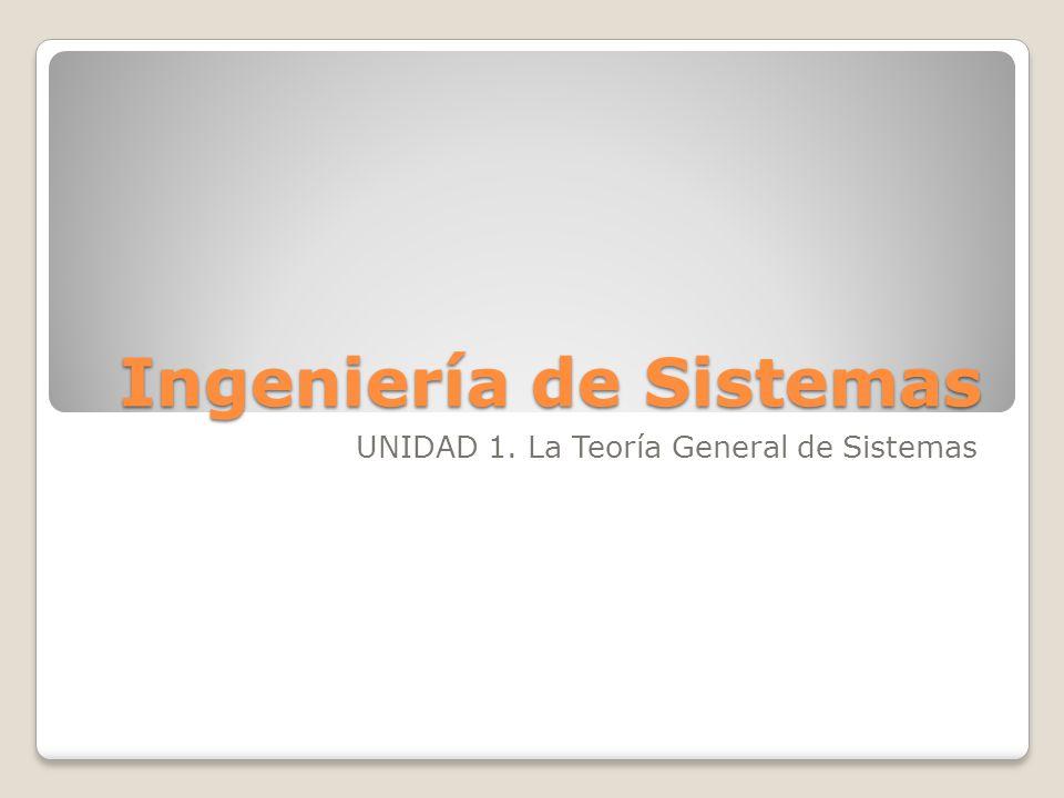 Ingeniería de Sistemas UNIDAD 1. La Teoría General de Sistemas
