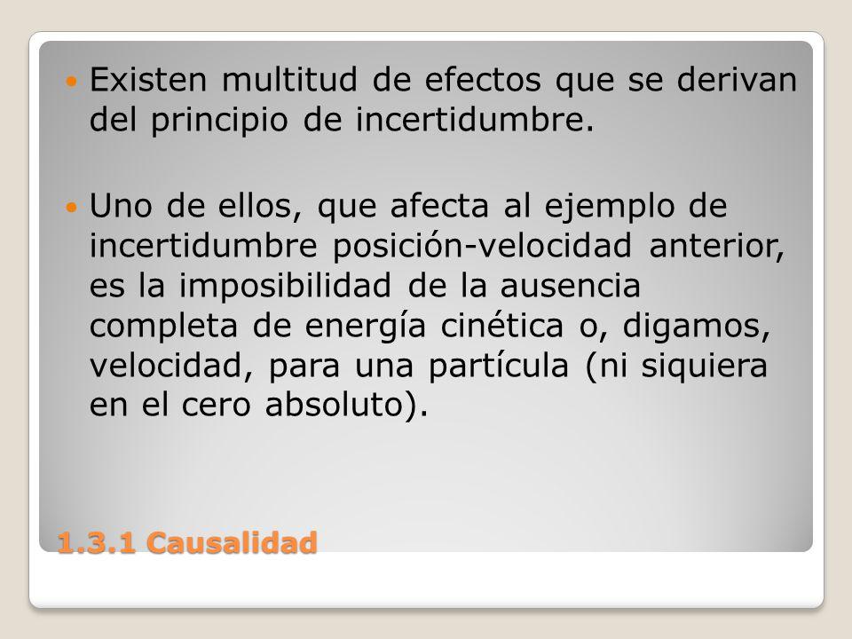 1.3.1 Causalidad Existen multitud de efectos que se derivan del principio de incertidumbre. Uno de ellos, que afecta al ejemplo de incertidumbre posic