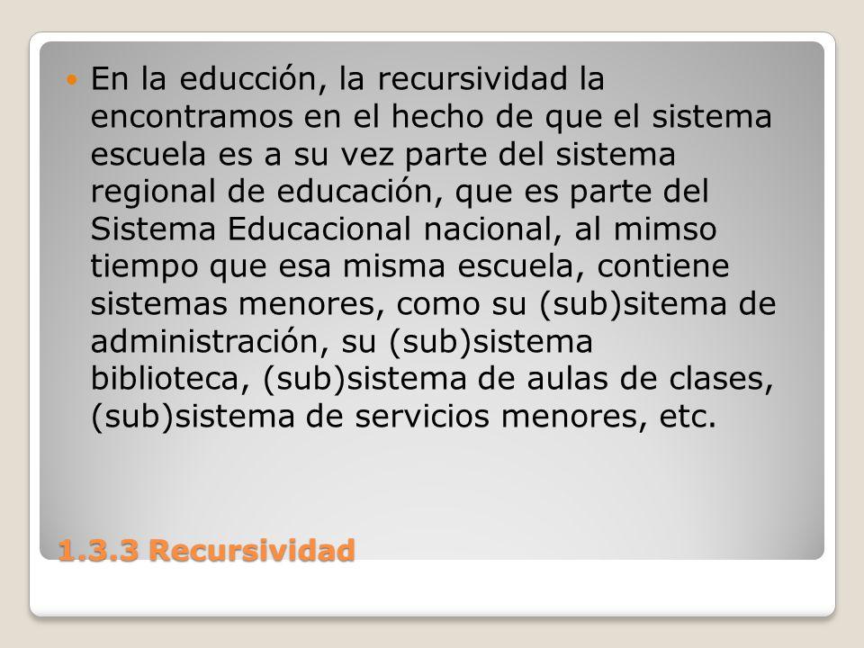 1.3.3 Recursividad En la educción, la recursividad la encontramos en el hecho de que el sistema escuela es a su vez parte del sistema regional de educ