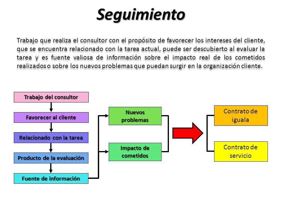 Seguimiento Trabajo que realiza el consultor con el propósito de favorecer los intereses del cliente, que se encuentra relacionado con la tarea actual