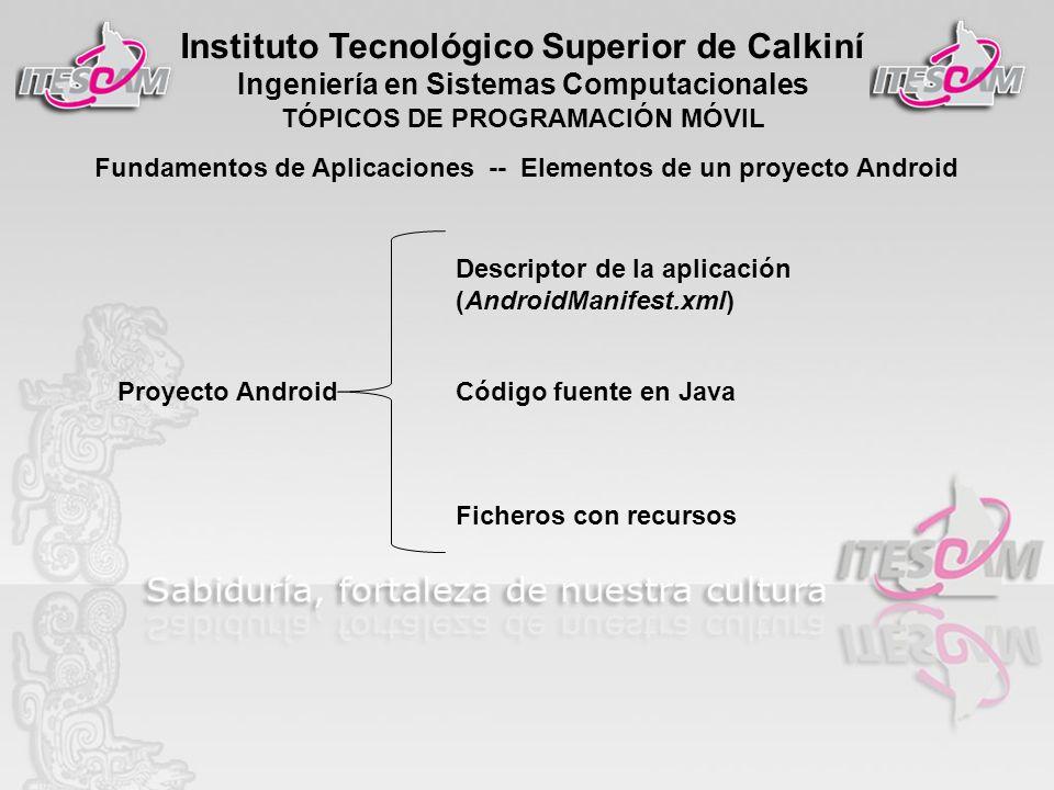 Instituto Tecnológico Superior de Calkiní Ingeniería en Sistemas Computacionales TÓPICOS DE PROGRAMACIÓN MÓVIL Fundamentos de Aplicaciones -- Elementos de un proyecto Android Proyecto Android Descriptor de la aplicación (AndroidManifest.xml) Código fuente en Java Ficheros con recursos