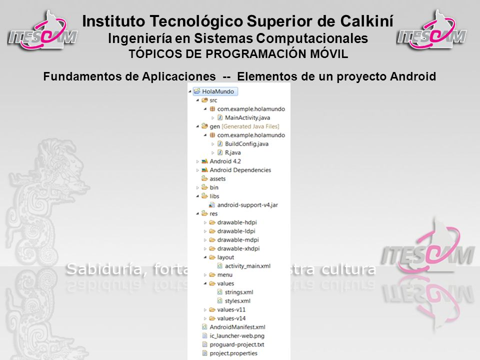 Instituto Tecnológico Superior de Calkiní Ingeniería en Sistemas Computacionales TÓPICOS DE PROGRAMACIÓN MÓVIL Fundamentos de Aplicaciones -- Elementos de un proyecto Android