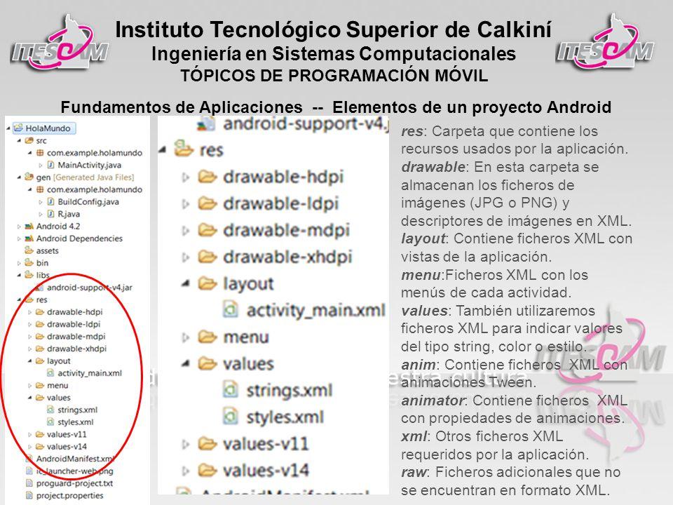 Instituto Tecnológico Superior de Calkiní Ingeniería en Sistemas Computacionales TÓPICOS DE PROGRAMACIÓN MÓVIL Fundamentos de Aplicaciones -- Elementos de un proyecto Android res: Carpeta que contiene los recursos usados por la aplicación.