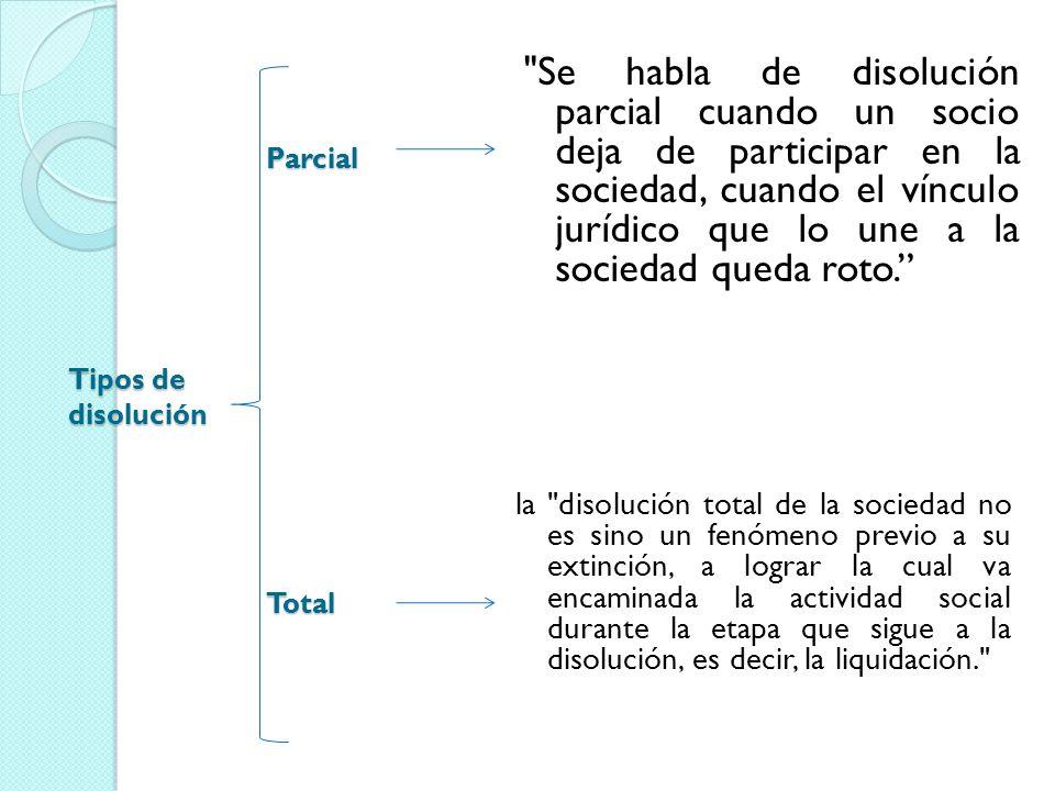 Tipos de disolución Parcial Total Se habla de disolución parcial cuando un socio deja de participar en la sociedad, cuando el vínculo jurídico que lo une a la sociedad queda roto.