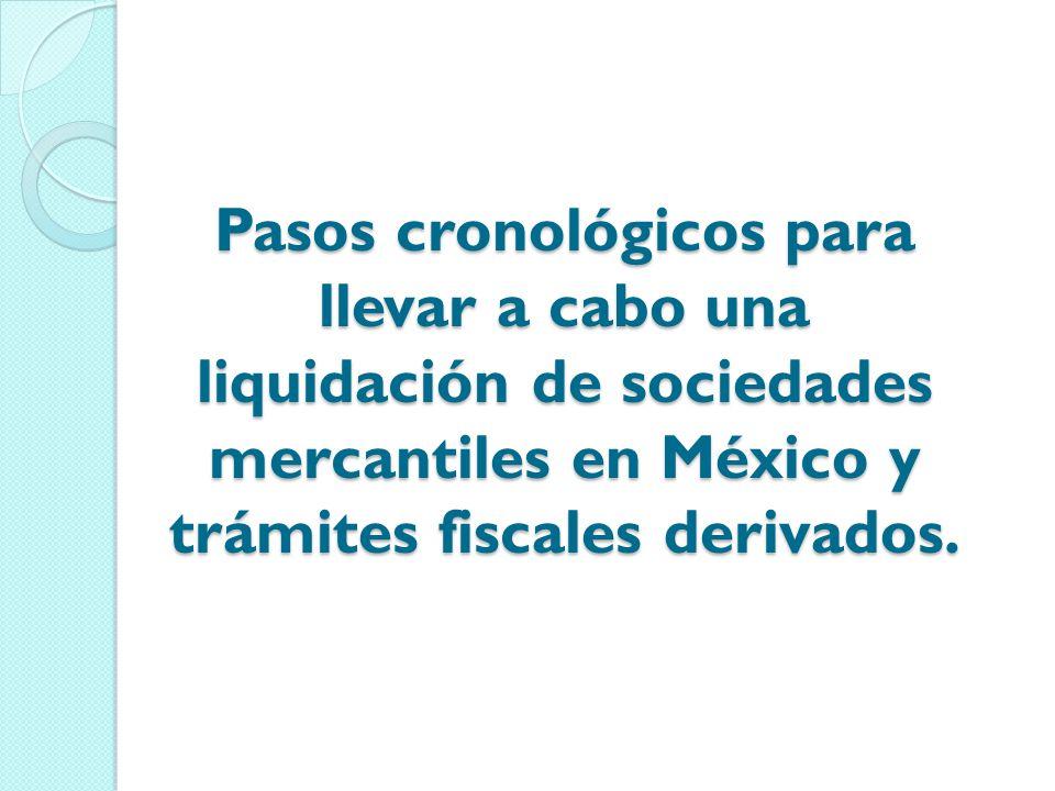 Pasos cronológicos para llevar a cabo una liquidación de sociedades mercantiles en México y trámites fiscales derivados.