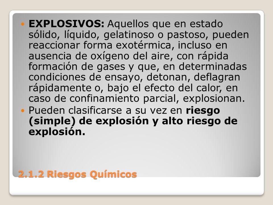 2.1.2 Riesgos Químicos EXPLOSIVOS: Aquellos que en estado sólido, líquido, gelatinoso o pastoso, pueden reaccionar forma exotérmica, incluso en ausenc