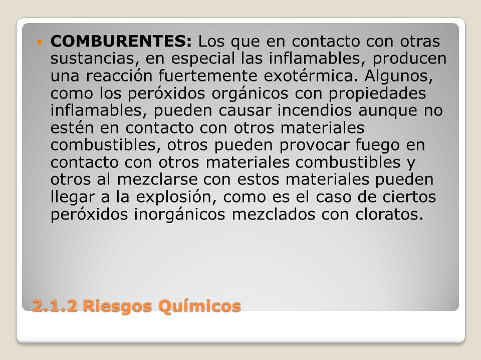 2.1.2 Riesgos Químicos COMBURENTES: Los que en contacto con otras sustancias, en especial las inflamables, producen una reacción fuertemente exotérmic