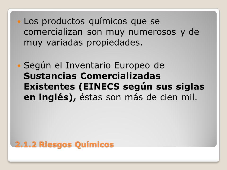 2.1.2 Riesgos Químicos Los productos químicos que se comercializan son muy numerosos y de muy variadas propiedades. Según el Inventario Europeo de Sus