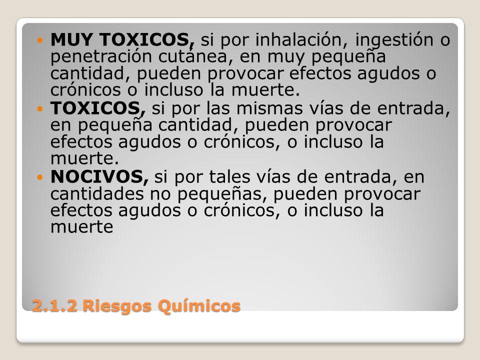 2.1.2 Riesgos Químicos MUY TOXICOS, si por inhalación, ingestión o penetración cutánea, en muy pequeña cantidad, pueden provocar efectos agudos o crón