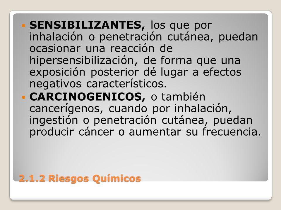 2.1.2 Riesgos Químicos SENSIBILIZANTES, los que por inhalación o penetración cutánea, puedan ocasionar una reacción de hipersensibilización, de forma