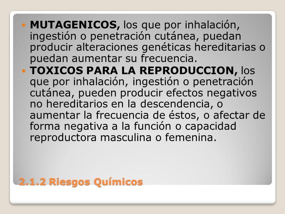 2.1.2 Riesgos Químicos MUTAGENICOS, los que por inhalación, ingestión o penetración cutánea, puedan producir alteraciones genéticas hereditarias o pue