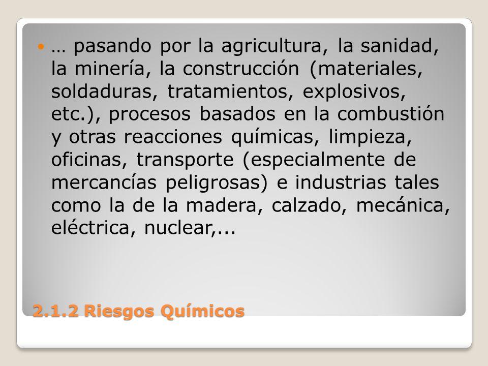 2.1.2 Riesgos Químicos … pasando por la agricultura, la sanidad, la minería, la construcción (materiales, soldaduras, tratamientos, explosivos, etc.),