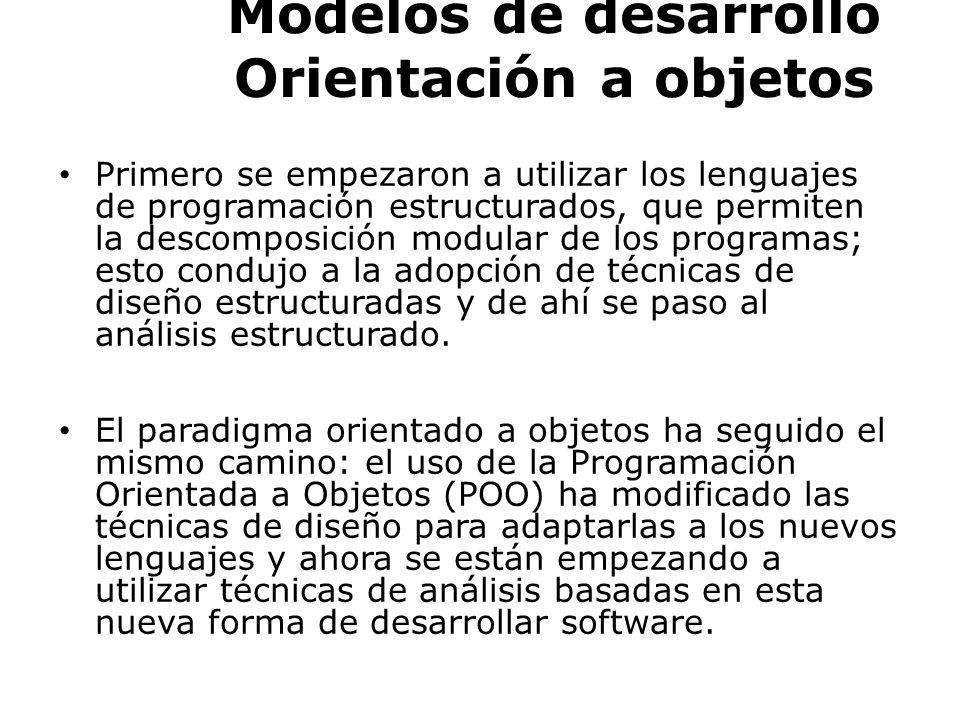 MODELOS ORIENTADOS A OBJETOS VENTAJAS DEL AOO Dominio del problema -> Permite pasar del dominio del problema al modelo del sistema.