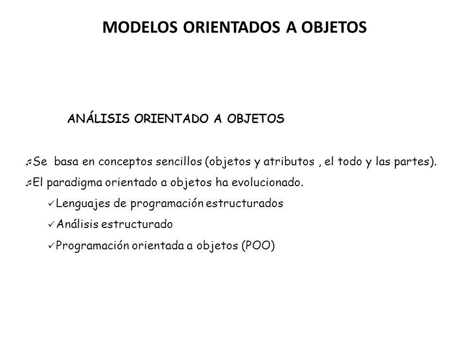 MODELOS ORIENTADOS A OBJETOS ANÁLISIS ORIENTADO A OBJETOS Se basa en conceptos sencillos (objetos y atributos, el todo y las partes). El paradigma ori