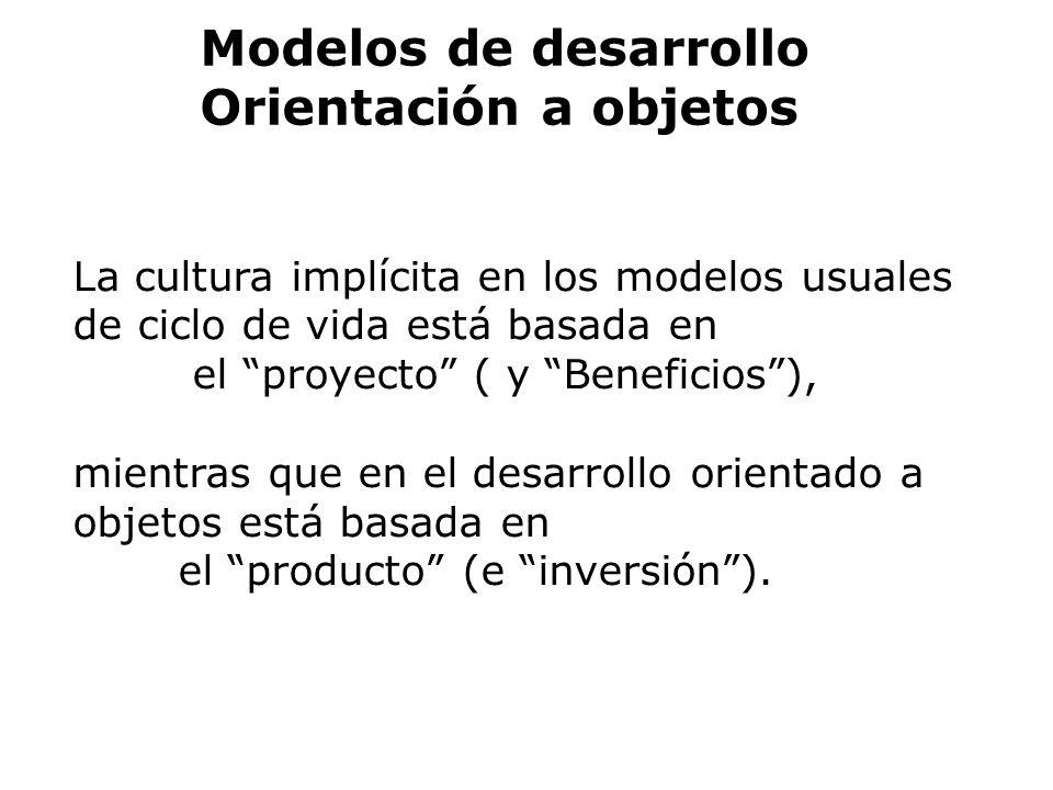 La cultura implícita en los modelos usuales de ciclo de vida está basada en el proyecto ( y Beneficios), mientras que en el desarrollo orientado a obj