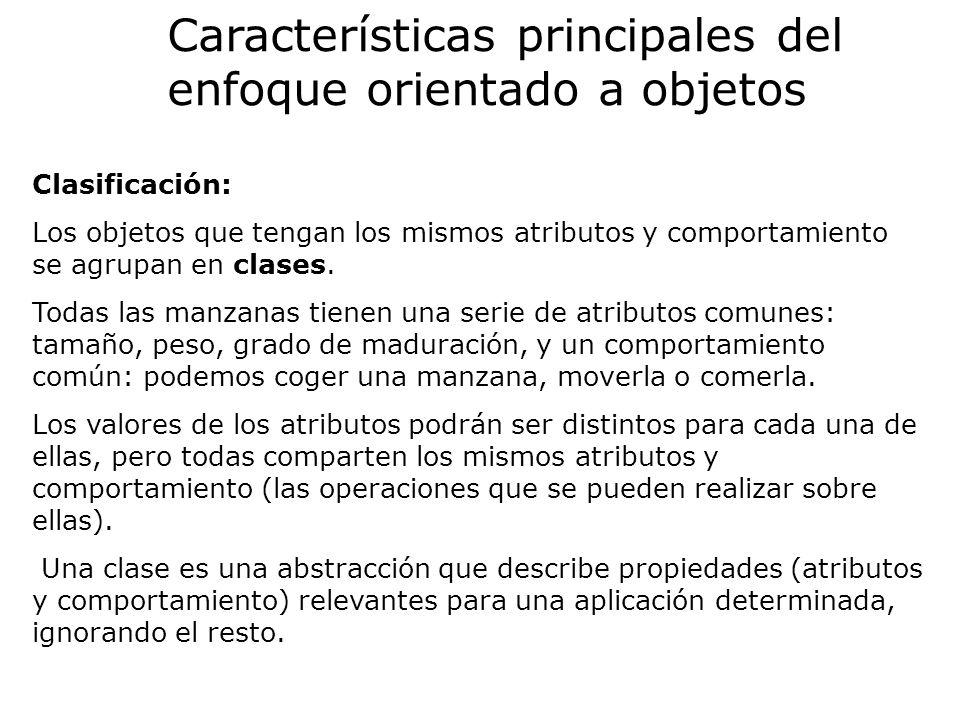Clasificación: Los objetos que tengan los mismos atributos y comportamiento se agrupan en clases. Todas las manzanas tienen una serie de atributos com