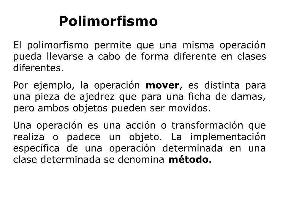 El polimorfismo permite que una misma operación pueda llevarse a cabo de forma diferente en clases diferentes. Por ejemplo, la operación mover, es dis
