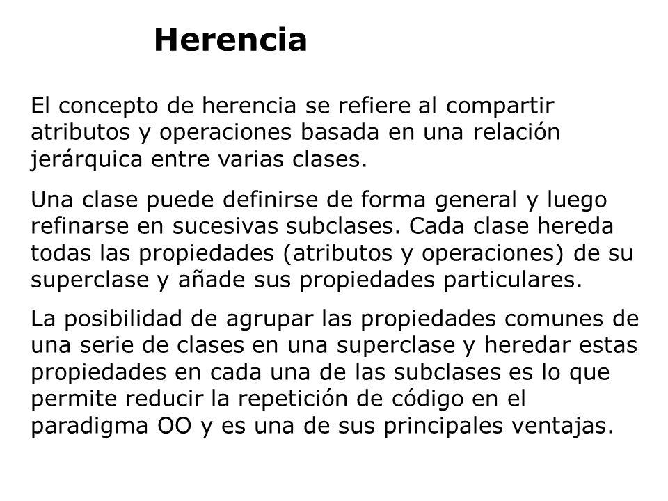 El concepto de herencia se refiere al compartir atributos y operaciones basada en una relación jerárquica entre varias clases. Una clase puede definir
