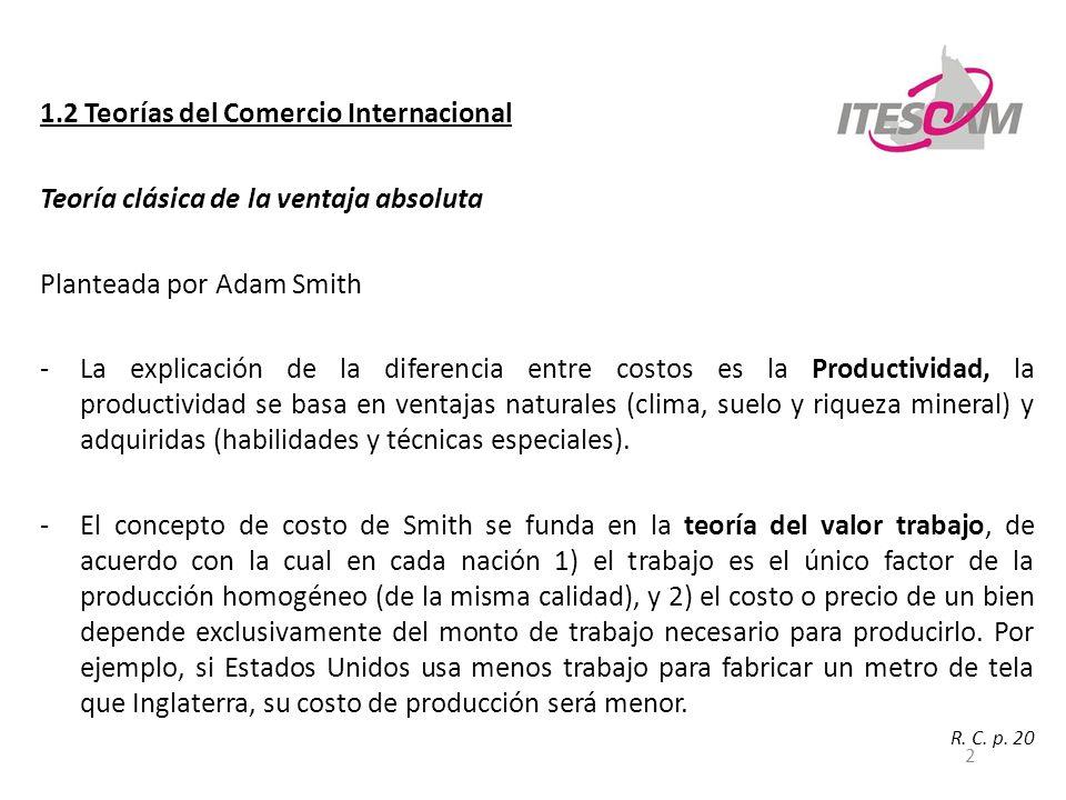 2 1.2 Teorías del Comercio Internacional Teoría clásica de la ventaja absoluta Planteada por Adam Smith -La explicación de la diferencia entre costos