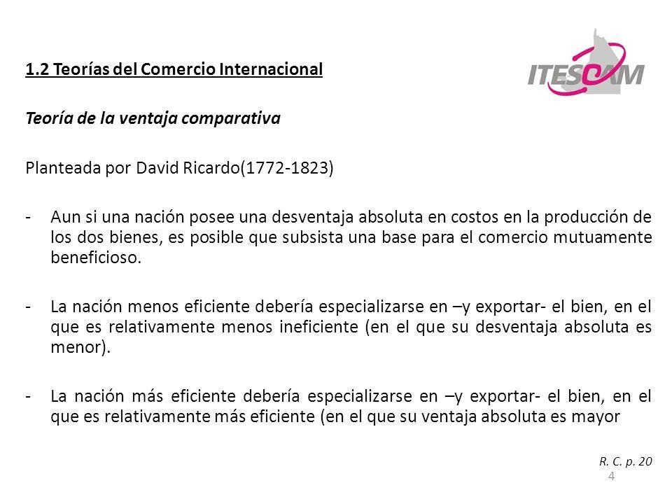 4 1.2 Teorías del Comercio Internacional Teoría de la ventaja comparativa Planteada por David Ricardo(1772-1823) -Aun si una nación posee una desventa