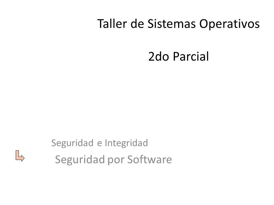 Taller de Sistemas Operativos 2do Parcial Seguridad e Integridad Seguridad por Software