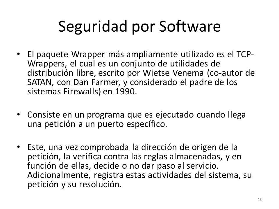 Seguridad por Software El paquete Wrapper más ampliamente utilizado es el TCP- Wrappers, el cual es un conjunto de utilidades de distribución libre, escrito por Wietse Venema (co-autor de SATAN, con Dan Farmer, y considerado el padre de los sistemas Firewalls) en 1990.