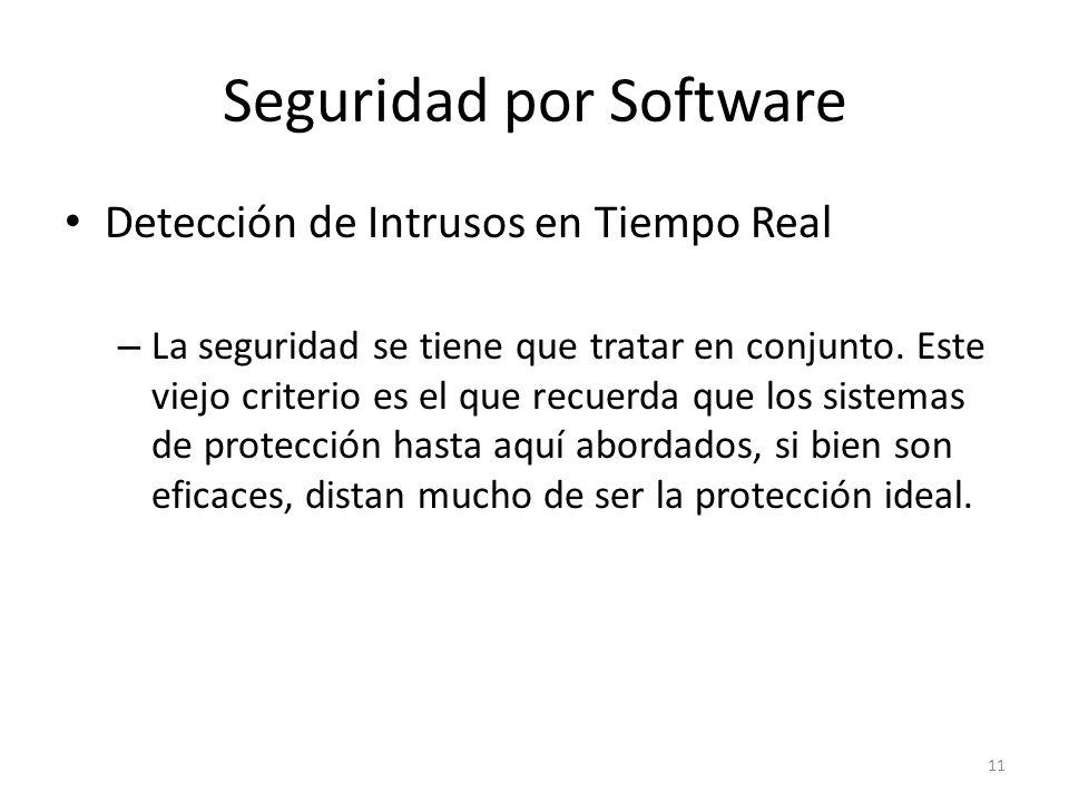 Seguridad por Software Detección de Intrusos en Tiempo Real – La seguridad se tiene que tratar en conjunto.