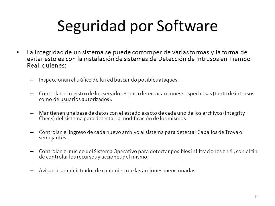Seguridad por Software La integridad de un sistema se puede corromper de varias formas y la forma de evitar esto es con la instalación de sistemas de