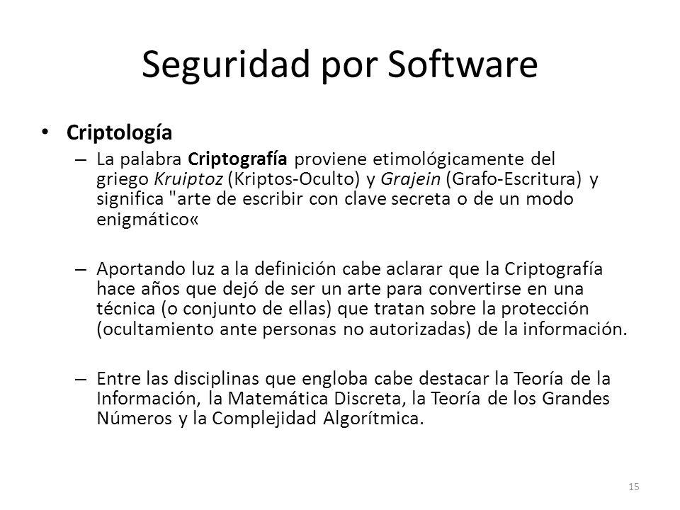 Seguridad por Software Criptología – La palabra Criptografía proviene etimológicamente del griego Kruiptoz (Kriptos-Oculto) y Grajein (Grafo-Escritura