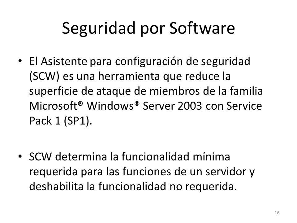 Seguridad por Software El Asistente para configuración de seguridad (SCW) es una herramienta que reduce la superficie de ataque de miembros de la fami