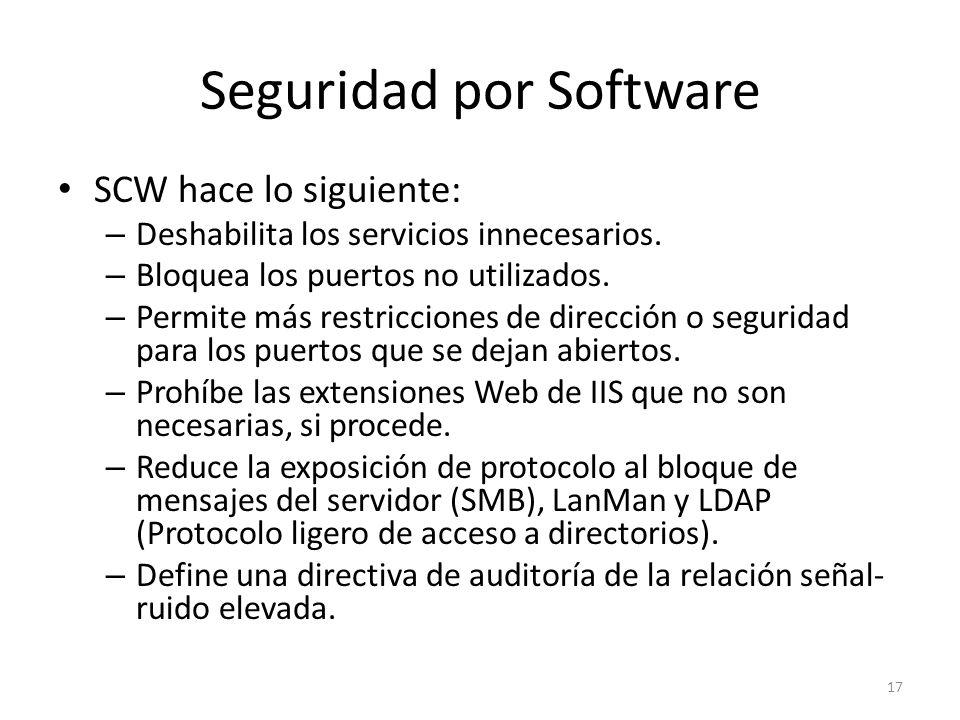 Seguridad por Software SCW hace lo siguiente: – Deshabilita los servicios innecesarios. – Bloquea los puertos no utilizados. – Permite más restriccion