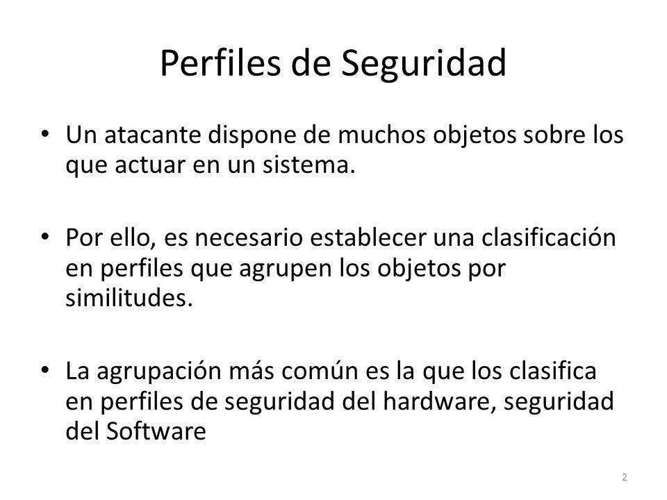Perfiles de Seguridad Un atacante dispone de muchos objetos sobre los que actuar en un sistema. Por ello, es necesario establecer una clasificación en