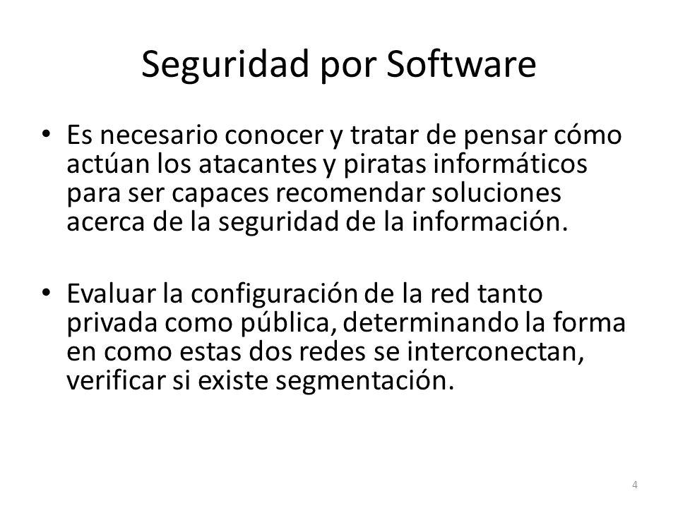 Seguridad por Software Evaluación de los Dispositivos Verificar que los Sistemas Operativos hayan sido instalados de acuerdo a las recomendaciones de hardware, configuraciones especiales y Parches necesarios que estén definidos para la plataforma que se ha instalado.