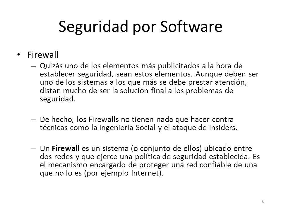 Seguridad por Software Firewall – Quizás uno de los elementos más publicitados a la hora de establecer seguridad, sean estos elementos. Aunque deben s