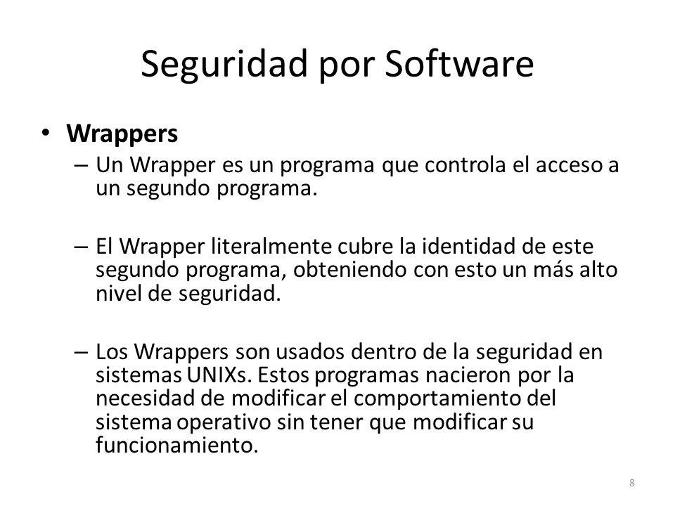 Seguridad por Software Los Wrappers son ampliamente utilizados, y han llegado a formar parte de herramientas de seguridad por las siguientes razones: – Debido a que la seguridad lógica esta concentrada en un solo programa, los Wrappers son fáciles y simples de validar.